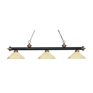 Riviera Matte Black and Antique Copper Three-Light Pendant with Angle Golden Mottle Glass