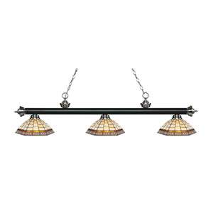 Riviera Black and Brushed Nickel Three-Light Pendant with Brick Design Tiffany Glass