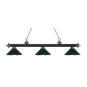 Riviera Matte Black and Brushed Nickel Three-Light Pendant with Dark Green Metal Shades