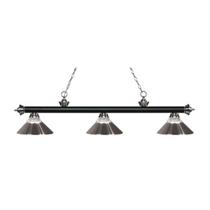 Riviera Matte Black and Brushed Nickel Three-Light Pendant with Brushed Nickel Shades