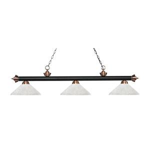Riviera Matte Black and Antique Copper Three-Light Pendant with Angle White Linen Glass