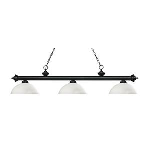 Riviera Matte Black Three-Light Pendant with Dome Matte Opal Glass