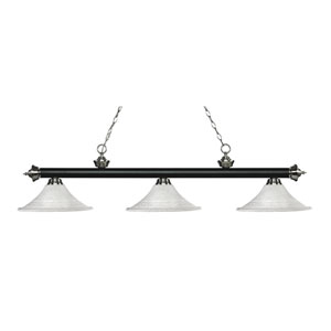 Riviera Matte Black and Brushed Nickel Three-Light Pendant with Fluted White Mottle Glass
