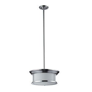 Sonna Three-Light Chrome Pendant with Matte Opal Glass Shade
