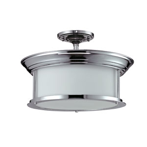 Sonna Three-Light Chrome Semi-Flush Mount with Matte Opal Glass
