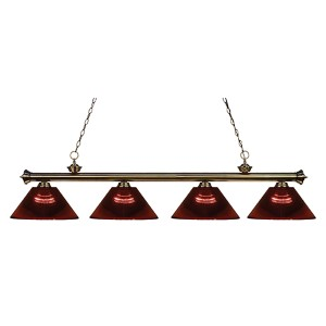 Riviera Antique Brass Four-Light Pendant with Burgundy Shade