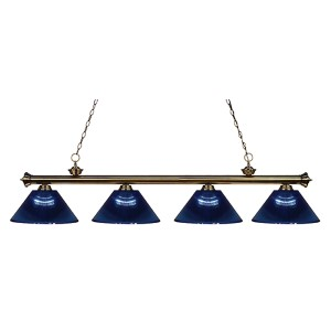 Riviera Antique Brass Four-Light Pendant with Dark Blue Shade