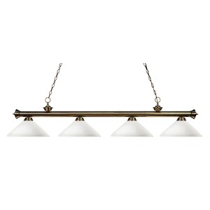 Riviera Antique Brass Four-Light Island Pendant with Angle Matte Opal Glass
