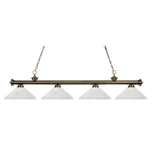 Riviera Antique Brass Four-Light Pendant with Angle White Linen Glass