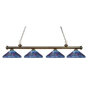 Riviera Antique Brass Four-Light 16-Inch Wide Island Pendant with Blue Tiffany Glass