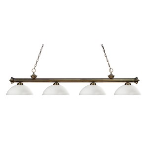 Riviera Antique Brass Four-Light Pendant with Dome Matte Opal Glass