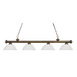Riviera Antique Brass Four-Light Pendant with Dome White Linen Glass