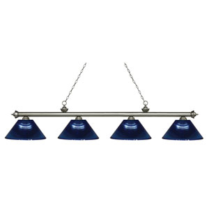 Riviera Antique Silver Four-Light Billiard Pendant with Dark Blue Acrylic Shades