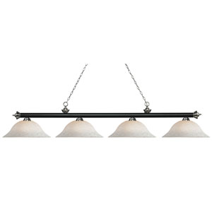 Riviera Matte Black and Brushed Nickel Four-Light Billiard Pendant with White Mottle Glass