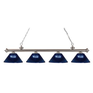 Riviera Brushed Nickel Four-Light Pendant with Dark Blue Shade
