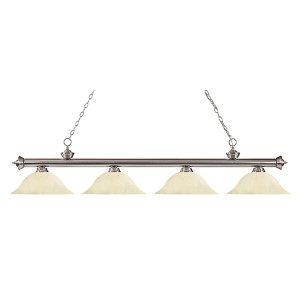 Riviera Brushed Nickel Four-Light Pendant with Golden Mottle Glass