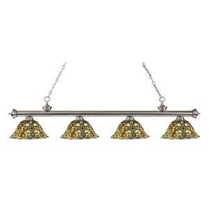Riviera Brushed Nickel Four-Light Pendant  200-4BN-R14A
