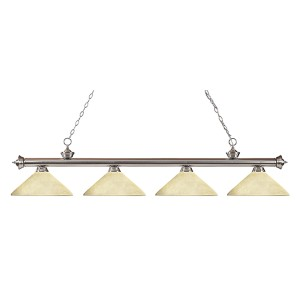 Riviera Brushed Nickel Four-Light Pendant with Angle Golden Mottle Glass
