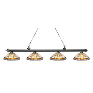 Riviera Brushed Nickel Four-Light Pendant  200-4BN-Z14-35
