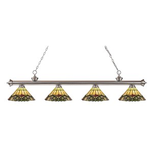 Riviera Brushed Nickel Four-Light Pendant  200-4BN-Z14-49