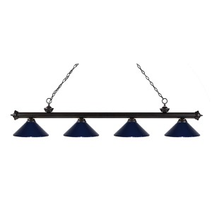 Riviera Bronze Four-Light Pendant with Navy Blue Shade