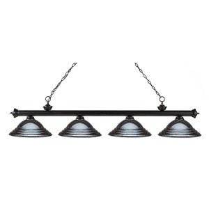 Riviera Bronze Four-Light Pendant with Stepped Gun Metal Shade