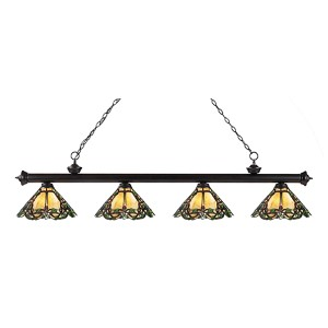 Riviera Bronze Four-Light Pendant with Yellow Multicolor Tiffany Glass Cone Shade
