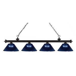 Riviera Bronze Four-Light Pendant with Dark Blue Shade