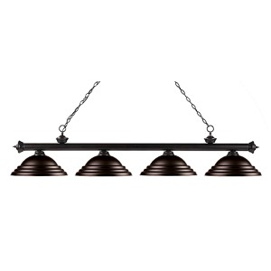 Riviera Bronze Four-Light 16-Inch Wide Pendant with Stepped Bronze Metal Shades