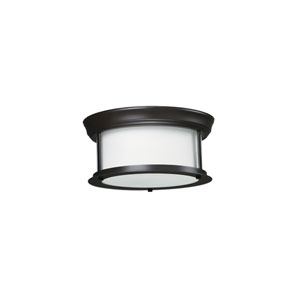 Sonna Two-Light Bronze Flush Ceiling Fixture with Matte Opal Glass