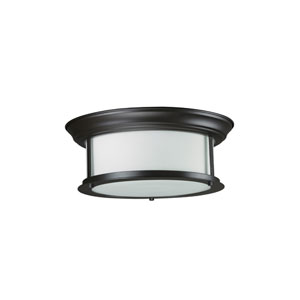 Sonna Two-Light Large Bronze Flush Ceiling Fixture with Matte Opal Glass