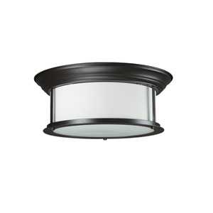Sonna Three-Light Bronze Flush Ceiling Fixture with Matte Opal Glass