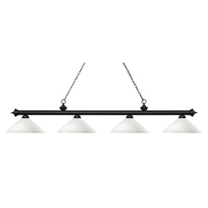 Riviera Matte Black Four-Light Billiard Pendant with Angle Matte Opal Glass