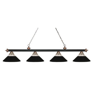 Riviera Matte Black and Antique Copper Four-Light Billiard Pendant with Clear Ribbed Glass and Matte Black Shades