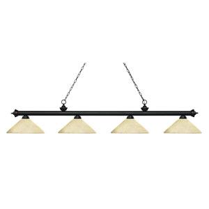 Riviera Matte Black Four-Light Billiard Pendant with Angle Golden Mottle Glass