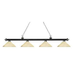 Riviera Matte Black and Brushed Nickel Four-Light Billiard Pendant with Angle Golden Mottle Glass