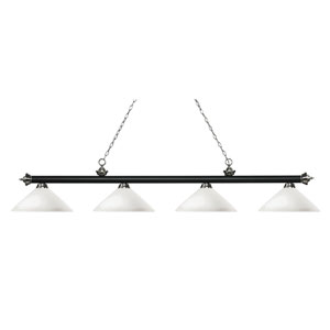 Riviera Matte Black and Brushed Nickel Four-Light Billiard Pendant with Angle Matte Opal Glass