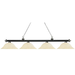 Riviera Matte Black and Brushed Nickel Four-Light Billiard Pendant with Golden Mottle Glass