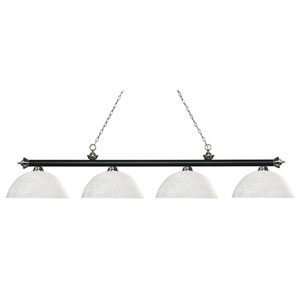 Riviera Matte Black and Brushed Nickel Four-Light Billiard Pendant with Dome White Linen Glass
