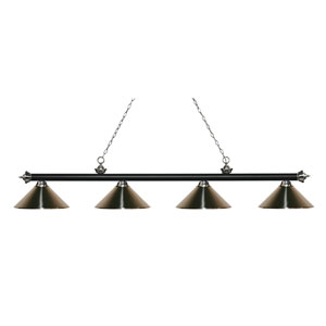 Riviera Matte Black and Brushed Nickel Four-Light Billiard Pendant with Brushed Nickel Shades