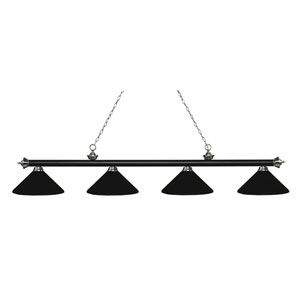 Riviera Matte Black and Brushed Nickel Four-Light Billiard Pendant with Matte Black Shades