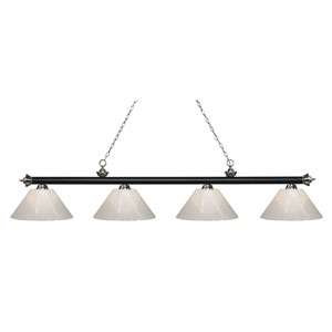 Riviera Matte Black and Brushed Nickel Four-Light Billiard Pendant with White Plastic Shades
