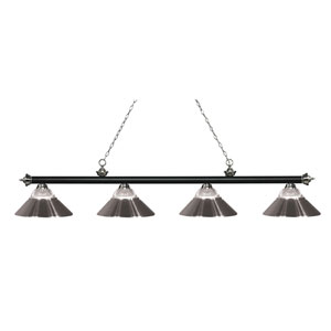Riviera Matte Black and Brushed Nickel Four-Light Billiard Pendant with Clear Ribbed Glass and Brushed Nickel Shades