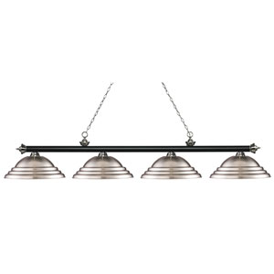 Riviera Matte Black and Brushed Nickel Four-Light Billiard Pendant with Stepped Brushed Nickel Shades