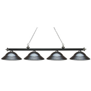 Riviera Matte Black and Brushed Nickel Four-Light Billiard Pendant with Stepped Gun Metal Shades