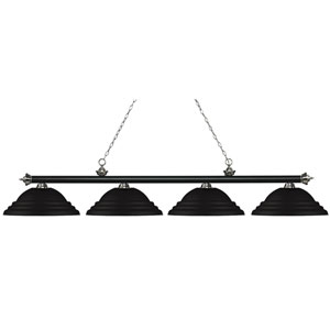 Riviera Matte Black and Brushed Nickel Four-Light Billiard Pendant with Stepped Matte Black Shades