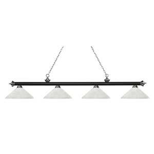 Riviera Matte Black and Brushed Nickel Four-Light Billiard Pendant with Angle White Linen Glass