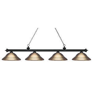 Riviera Matte Black Four-Light  Billiard Light with Antique Brass Steel