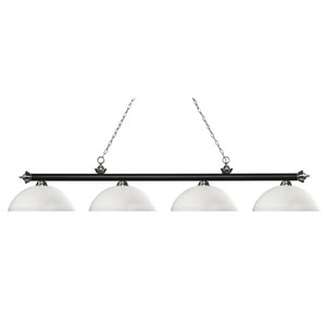 Riviera Matte Black and Brushed Nickel Four-Light Billiard Pendant with Dome Matte Opal Glass