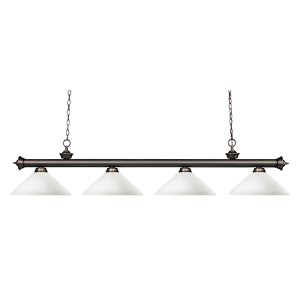 Riviera Olde Bronze Four-Light Pendant with Angle Matte Opal Glass